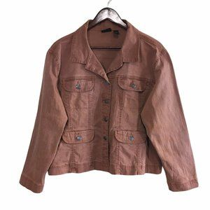 CHICO'S Rust Button Front Jacket Size 3